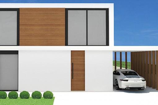 Vista frontal con garaje