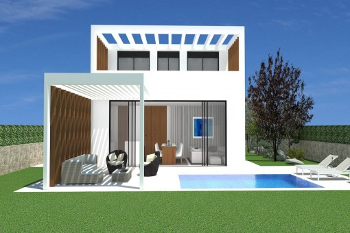 Área de piscina con terraza cubierta