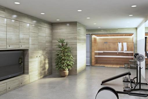 Sauna privada con gimnasio