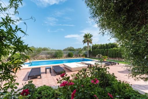 Jardín y piscina con encanto