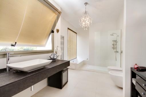 Baño elegante con ducha y bañera