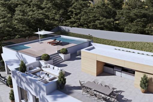 Azotea espectacular con piscinas