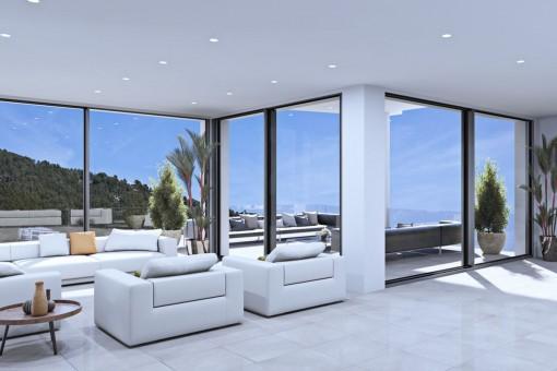 Área de estar con vistas panorámicas