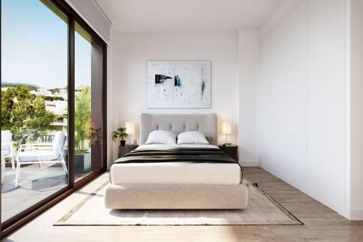 Dormitorio principal con ventanas