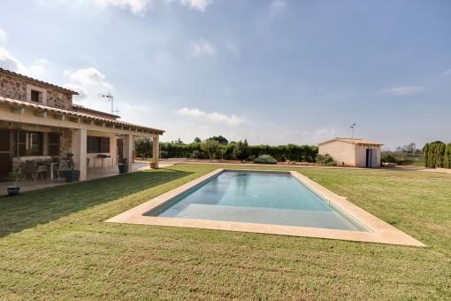 Gran piscina con privacidad absoluta