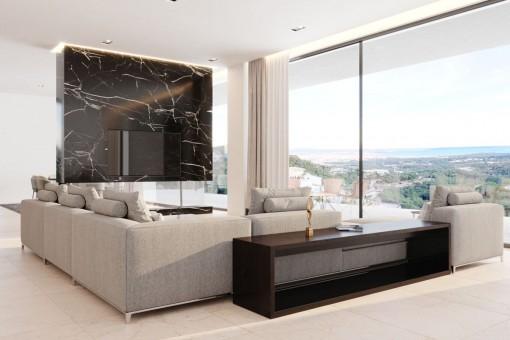 Salón con vistas panorámicas
