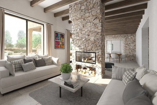 Salón abierto con chimenea