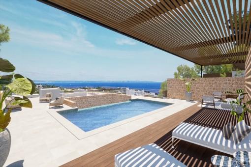 Villa en una ubicación buena con vistas al mar y proyecto aprobado en Portals Nous