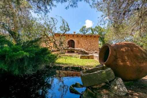 Jardín con un estanque pequeño