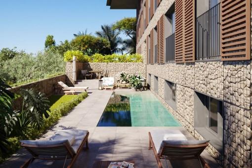 Lujoso apartamento en la planta baja con jardín y piscina privada en Cala Mayor