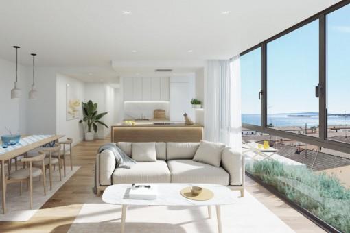 Elegante apartamento de 2 dormitorios con piscina comunitaria en la azotea en el centro de Palma