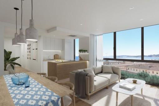 Elegante apartamento de 1 dormitorio con piscina comunitaria en la azotea en el centro de Palma