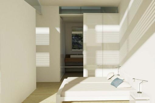 Dormitorio inundado por luz natural