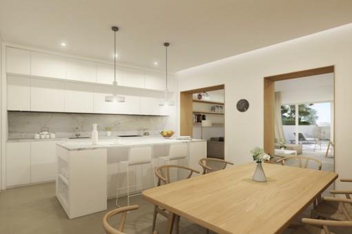 Sala de estar abierta y cocina