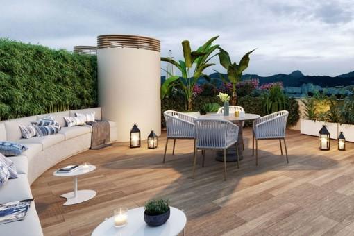 Elegante ático de nueva construcción en Palma con azotea privada y piscina en la terraza