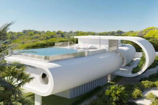 Esplendida piscina en el techo