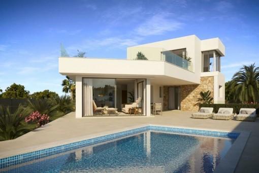 Exclusivo chalet de nueva construcción con piscina en la segunda línea de mar en Vallgonera