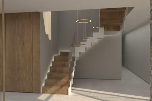 Vista a las escaleras