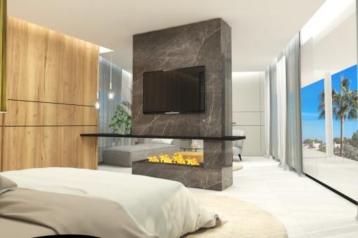 Dormitorio principal con chimenea