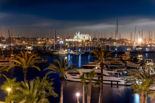 Vistas espectaculares al puerto durante la noche