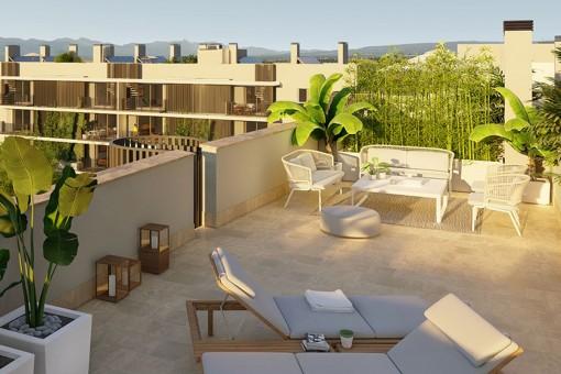 Moderno ático de nueva construcción con 3 dormitorios, amplia azotea privada en Son Güells, Palma