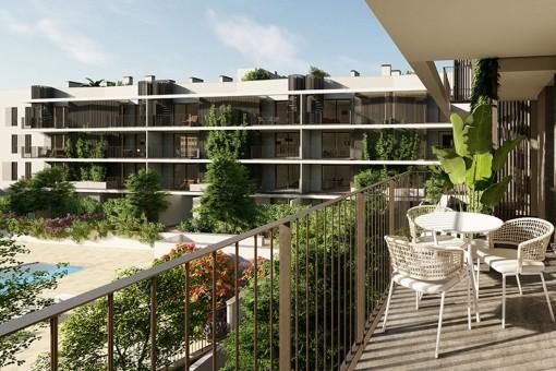 Moderno apartamento de 3 dormitorios de nueva construcción con terraza orientada al sur en Son Güells, Palma