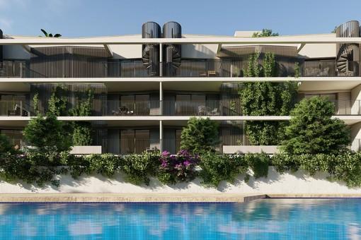 Moderna planta baja de nueva construcción con 2 dormitorios, amplia terraza y orientación sur en Son Güells, Palma