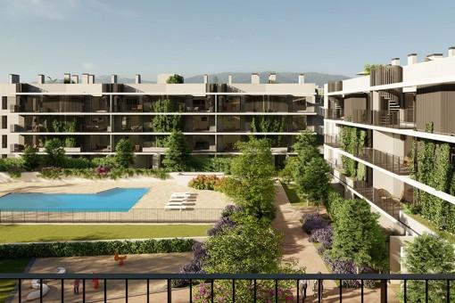 Moderno piso de nueva construcción con 2 dormitorios, amplia terraza y orientación este en Son Güells, Palma