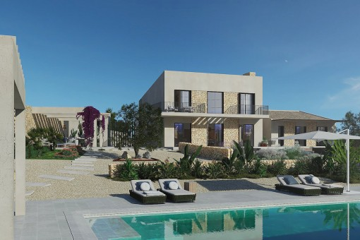 Magnífica finca de nueva construcción con vistas panorámicas hasta el mar, cerca de Ses Salines