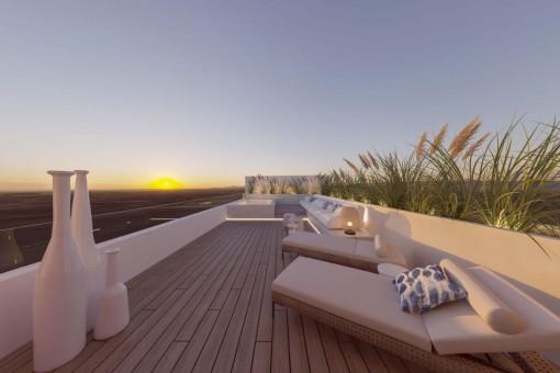 Exclusivo adosado de nueva construcción con piscina climatizada y gran azotea en Santanyí