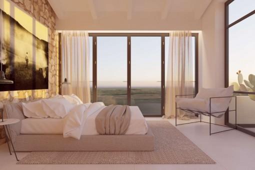 Dormitorio con una vista