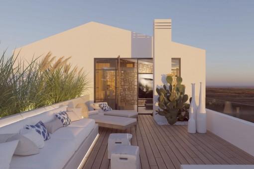 Elegante y espacioso adosado de nueva construcción con piscina climatizada y azotea en Santanyí