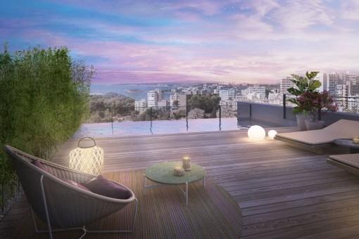 Palma Sea View - Exclusivo proyecto residencial mediterráneo de lujo con el más alto nivel - Ático dúplex de 4 dormitorios con piscina