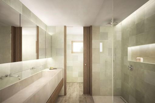 Baño en suite noble con ducha a nivel del suelo