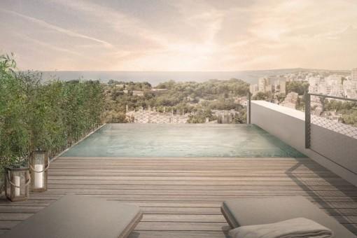 Azotea pintoresca con piscina