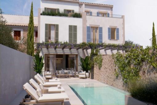 La modernidad se une a la tradición - elegante casa adosada de nueva construcción con piscina en Santanyí